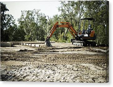 Backhoe On Construction Site Canvas Print by Sam Bloomberg-rissman