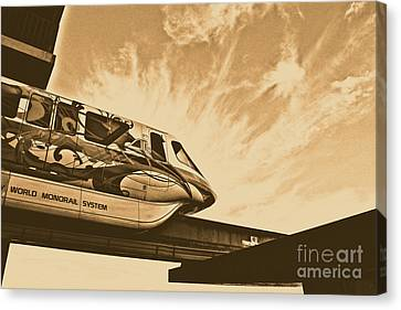 Backlit Disney World Monorail Leaving Contemporary Resort Walt Disney World Prints Rustic Canvas Print by Shawn O'Brien