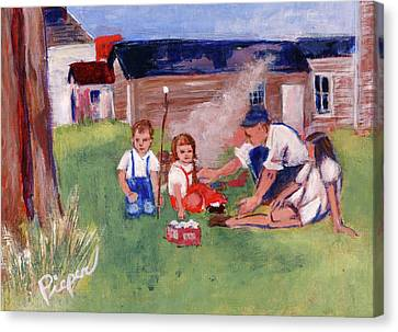 Backyard Picnic In Rural Grove Canvas Print