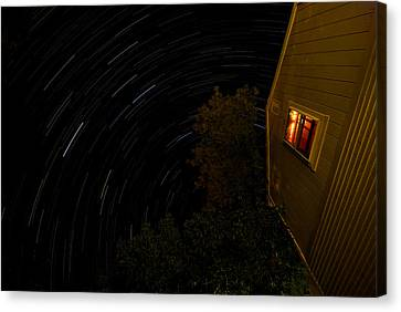 Backyard Star Trails Canvas Print by Mike Horvath