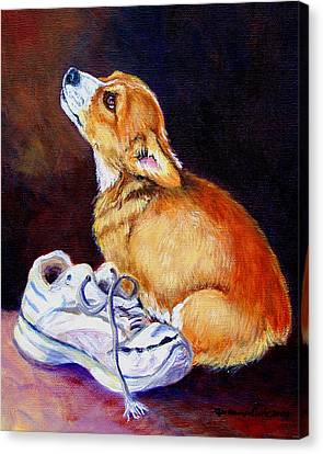 Tennis Shoe Canvas Print - Bad Puppy Pembroke Welsh Corgi by Lyn Cook