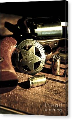 Badge And Gun Canvas Print