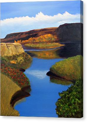 Canvas Print featuring the painting Badlands River by Janet Greer Sammons