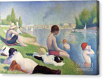 Baigneurs A Asnieres Canvas Print by Pg Reproductions