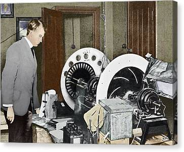 Baird Inventing His Television, 1920s Canvas Print by Sheila Terry
