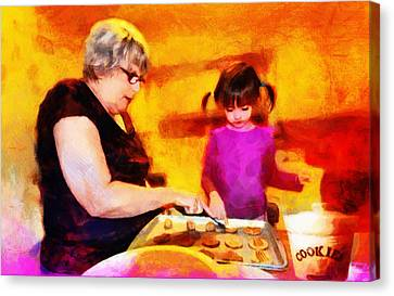 Baking Cookies With Grandma Canvas Print