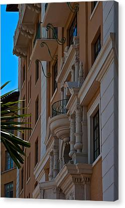 Canvas Print featuring the photograph Balcony At The Biltmore Hotel by Ed Gleichman