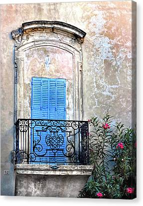 Canvas Print featuring the photograph Balcony Provence France by Dave Mills
