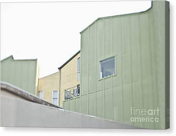Balcony Railing On Green Building Canvas Print