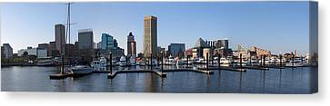 Canvas Print featuring the photograph Balitmore Inner Harbor Panorama by Darleen Stry