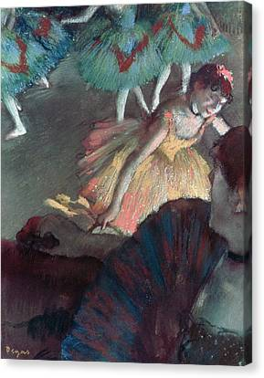 Ballerina And Lady With A Fan Canvas Print by Edgar Degas