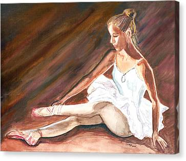Canvas Print featuring the painting Ballet Dancer by Clara Sue Beym