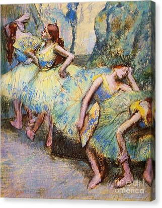 Ballet Dancers In The Wings Canvas Print by Pg Reproductions