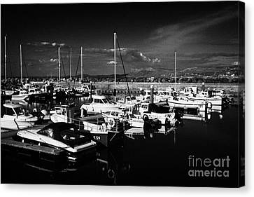 Ballycastle Harbour And Marina With Fair Head In The Background County Antrim Northern Ireland Canvas Print