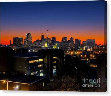Canvas Print featuring the photograph Baltimore At Sunset by Mark Dodd