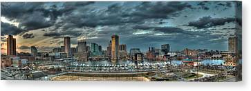 Canvas Print featuring the photograph Baltimore Inner Harbor Pano by Mark Dodd