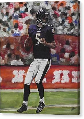 Baltimore Ravens Joe Flacco Canvas Print by Kim Selig