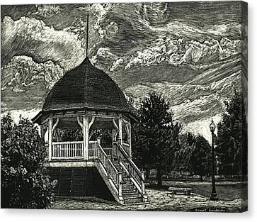 Bandstand On The Commons Canvas Print by Robert Goudreau