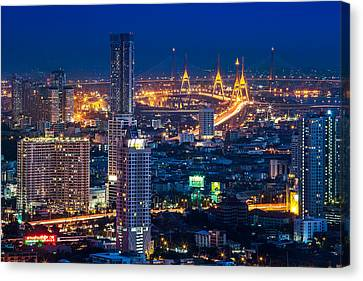Bangkok Capital City Of Thailand Nightscape Canvas Print by Arthit Somsakul