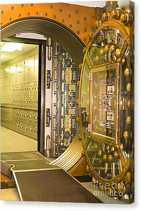 Bank Vault Doors Leading To Safety Deposit Boxes Canvas Print by Adam Crowley