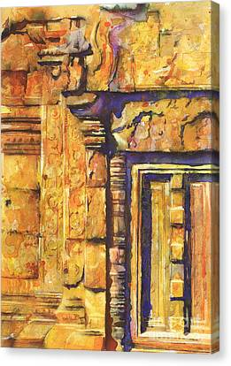 Banteay Srei Doorway Canvas Print by Ryan Fox