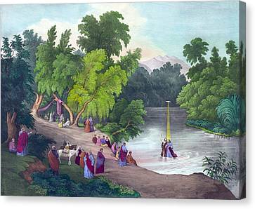 Baptism Of Jesus Christ In The River Canvas Print by Everett