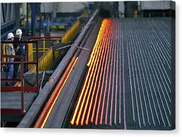 Bar-rolling Mill Processing Molten Metal Canvas Print by Ria Novosti