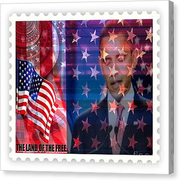 Barack A Stamp Canvas Print by Fania Simon