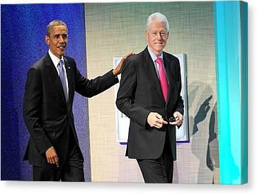 Barack Obama, Bill Clinton At A Public Canvas Print by Everett