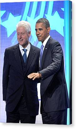 Barack Obama, Bill Clinton Canvas Print by Everett