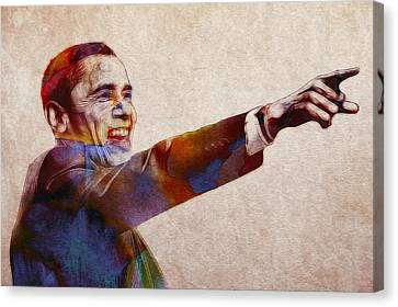 Barack Obama Watercolor Canvas Print by Steve K