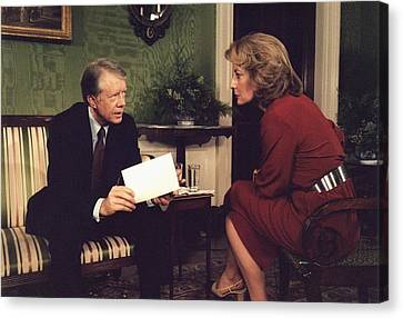 Barbara Walters Interviewing President Canvas Print by Everett
