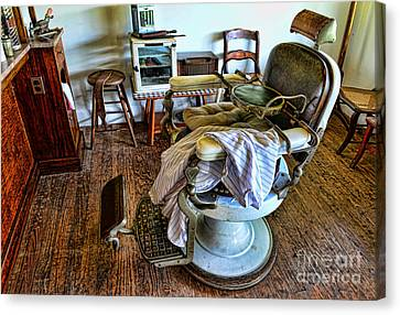 Barber Chair With Child Booster Seat Canvas Print by Paul Ward