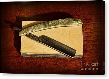 Barber - Razor And Sharpening Stone Canvas Print by Paul Ward