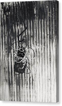Barbwire On Hook Canvas Print by Floyd Smith