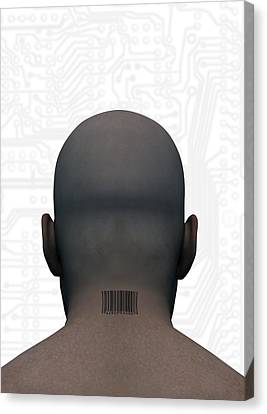 Barcoded Man, Artwork Canvas Print by Victor Habbick Visions