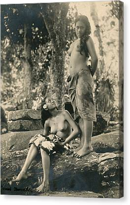 Bare-breasted Marquesas Islands Girls Canvas Print by J.W. Church