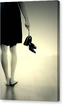 Black Boots Canvas Print - Barefoot by Joana Kruse