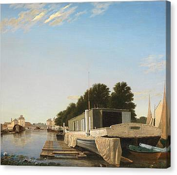 Barges At A Mooring Canvas Print by Unknown