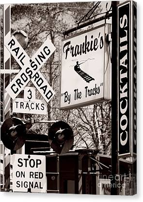 Canvas Print featuring the photograph Barhopping At Frankies 1 by Lee Craig
