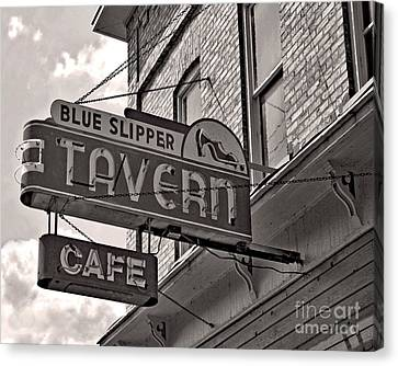 Canvas Print featuring the photograph Barhopping At The Blue Slipper by Lee Craig