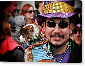 Canvas Print featuring the photograph Barkus Mardi Gras Parade by Jim Albritton