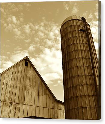 Barn And Silo In Sepia Canvas Print