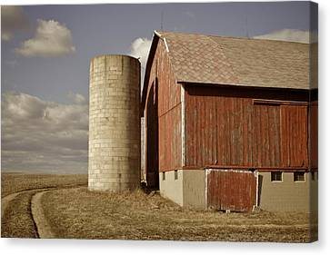 Barn And Silo Canvas Print by Odd Jeppesen