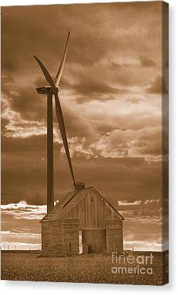 Barn And Windmill 2 Canvas Print by Jim Wright