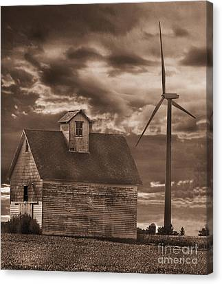 Barn And Windmill Canvas Print by Jim Wright