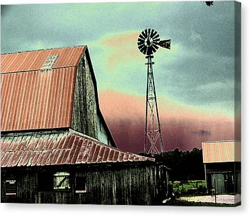 Barn And Windmill Canvas Print by Linda Francis