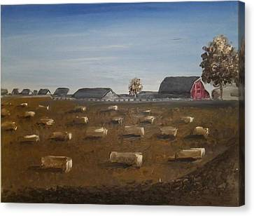 Canvas Print featuring the painting Barn by Angela Stout