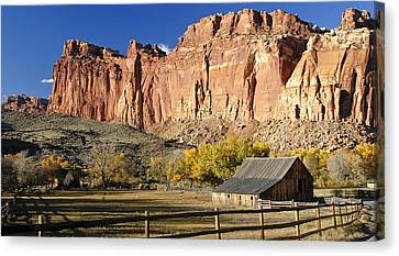 Canvas Print featuring the photograph Barn At Capital Reef by Geraldine Alexander