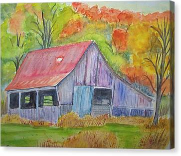 Barn At Round Bottom Canvas Print by Belinda Lawson